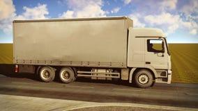 Weißer Packwagen, der auf die Wiedergabe der Straßen 3d reist Lizenzfreie Stockfotos