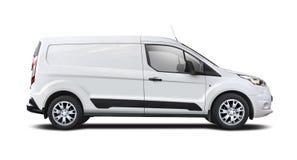 Weißer Packwagen Ford Transit Connect lokalisiert auf Weiß lizenzfreie stockfotografie