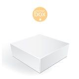 Weißer Paket-Kasten Verpackende scheinbare hohe Schablone Stockfotos