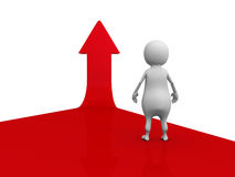 Weißer Pfeil 3d Person On Red Rising Up Unterschiedliche Kugel 3d Lizenzfreie Stockbilder