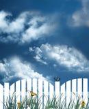 Weißer Pfostenzaun Stockbilder