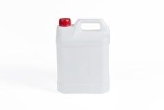 Weißer Plastikbenzinkanister Stockbild