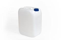 Weißer Plastikbenzinkanister Stockfotos