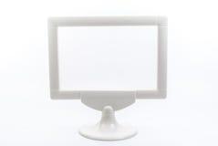 Weißer Plastikbilderrahmen lokalisiert Lizenzfreies Stockfoto