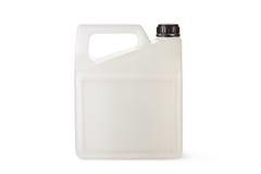 Weißer Plastikkanister für Haushaltschemikalien Stockbilder