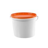 Weißer Plastikmalerbehälter - Modell mit Beschneidungspfad stockfoto