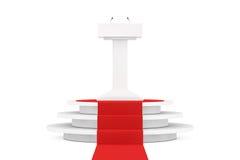 Weißer Podium-Tribüne-Podiums-Stand mit Mikrophonen über rundem W Stockfotografie