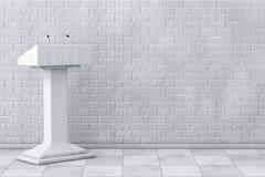 Weißer Podium-Tribüne-Podiums-Stand mit Mikrophonen renderin 3D Stockfoto