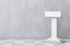 Weißer Podium-Tribüne-Podiums-Stand mit Mikrophonen renderin 3D Stockbilder