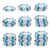 Weißer Poker Chips Stacks Vector Set 3D Lizenzfreie Stockbilder