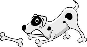 Weißer punktierter Hund der Karikatur, der mit einem Knochen spielt Lizenzfreie Stockbilder