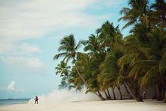 Weißer Rauch auf dem Strand Tropische Landschaft stockfotos