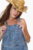 Weißer reaktionärer Hinterwäldlerbrunette-Frau-Landwirt Lizenzfreies Stockfoto