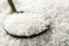 Weißer Reis auf Löffel stockbild