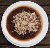Weißer Reis mit Bohnen Stockbilder