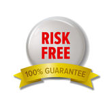 Weißer runder Aufkleber mit rotes Text ` Risiko freiem ` Stockbilder