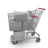 Weißer Sammelpack in der Laufkatze Lizenzfreies Stockfoto