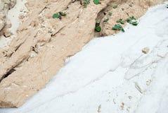Weißer Sand und beige Lehm Stockfotografie