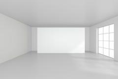 Weißer sauberer Innenraum mit leerem weißem Plakat Stockfotos