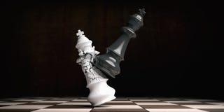 Weißer Schachkönig gebrochen vom schwarzen König, auf einem Schachbrett Abbildung 3D lizenzfreie abbildung