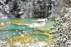 Weißer Schnee im Wald mit Teich des blauen Grüns Stockbild