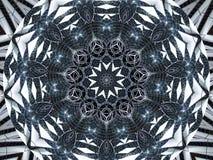 Weißer schwarzer Kaleidoskopmuster-Zusammenfassungshintergrund Punkt, Lautsprecher, industrieller Hintergrund Abstrakter Fractalk vektor abbildung