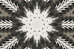 Weißer schwarzer Kaleidoskopmuster-Zusammenfassungshintergrund Punkt, Lautsprecher, industrieller Hintergrund Abstrakter Fractalk lizenzfreie abbildung