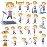 Weißer Sport u. Übung des Mannes des blonden Haares lizenzfreie abbildung