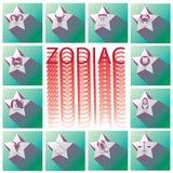 Weißer Stern des Tierkreises auf grünem Quadrat Lizenzfreie Abbildung