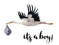 Weißer Storch des handgemalten Fliegens des Aquarells mit Mädchenbaby Handgemalte Ciconiavogelillustration lokalisiert auf Weiß vektor abbildung