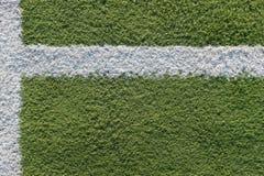 Weißer Streifen auf dem Gebiet für Fußball Grüne Beschaffenheit eines Fußball-, Volleyball- und Basketballfeldes stockfoto