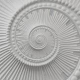 Weißer Stuck Gestaltungsplasterwork gewundener abstrakter Fractal-Musterhintergrund Gipszusammenfassungsspiralen-Effekthintergrun stockfotografie
