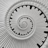 Weißer Stuck Gestaltungsplasterwork gewundener abstrakter Fractal-Musterhintergrund Gipszusammenfassungsspiralen-Effekthintergrun Stockfoto