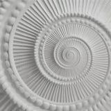Weißer Stuck Gestaltungsplasterwork gewundener abstrakter Fractal-Musterhintergrund Gipszusammenfassungsspiraleneffekt-Hintergrun Lizenzfreies Stockfoto