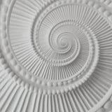 Weißer Stuck Gestaltungsplasterwork gewundener abstrakter Fractal-Musterhintergrund Gipszusammenfassungsspiraleneffekt-Hintergrun Lizenzfreies Stockbild