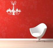 Weißer Stuhl und Lampe auf Rot Lizenzfreies Stockfoto