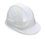 Weißer Sturzhelm, Hardhat Ikone 3D auf Weiß stockbilder