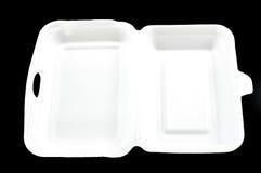 Weißer Styroschaumkasten auf schwarzem Hintergrund Stockfotos