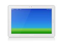 Weißer Tablet-PC. Vektor. Horizontal. Kopieren Sie Raum Lizenzfreie Stockfotografie