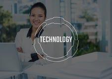 Weißer Technologietext und -graphik gegen Geschäftsfrauarme falteten sich am Laptop Lizenzfreie Stockfotos