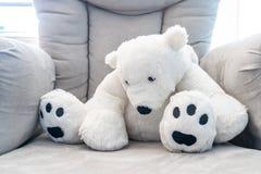 Weißer Teddybär, der auf einem grauen Kindertagesstättenstuhl des Plüschs slouching ist Hintergrundbeleuchtet mit natürlichem Son lizenzfreie stockbilder