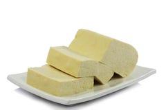 Weißer Teller mit Tofu Lizenzfreie Stockfotografie