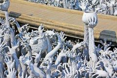 Weißer Tempel Art Work In Wat Rongs Khun, Chiang Rai, Thailand Stockfotografie