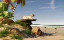 Weißer Tiger auf einem Strand stock abbildung