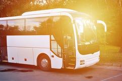 Weißer Touristenbus für Exkursionen Der Bus wird in einem Parkplatz nahe dem Park geparkt lizenzfreies stockfoto