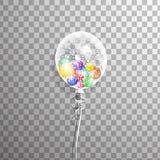 Weißer transparenter Helium Ballon mit Ballonen nach innen Bereifte Parteiballone für Ereignisdesign Parteidekorationen für Bi Stockbild