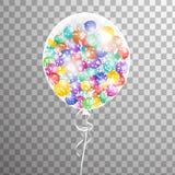 Weißer transparenter Heliumballon in der Luft Bereifte Parteiballone für Ereignisdesign Parteidekorationen für Geburtstag, Stockfotografie