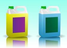 Weißer transparenter Plastikkanister für Nahrung und chemische flüssige Produkte stock abbildung