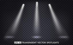 Weißer transparenter Vektor-Scheinwerferlicht-/Scheinwerfer-Effekt für Partei, Szene, Stadium, Galerie oder Feiertags-Design lizenzfreie abbildung