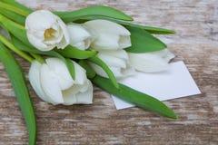 Weißer Tulpenblumenstrauß und leere Grußkarte stockfotografie